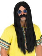 60's 70's Hippie Wig & Glasses (Black)